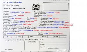 ケニア入国カード記載例