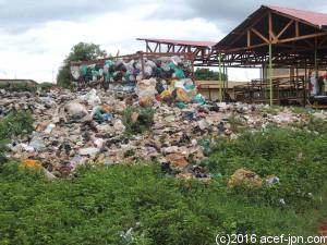 市街地の中のゴミ集積所。奥に見える建物は、野菜などを売るマーケットです。行政の収集サービスが行き届いていないことや、人々のゴミの捨て方がバラバラなことが、事態を深刻にしています